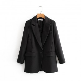 Tangada moda damska czarny garnitur marynarka z długim rękawem kieszeń urząd lady płaszcz biznesowy kobiet bluzki retro DA45