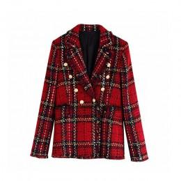 Vintage stylowy podwójny Breasted Plaid tweedowy blezer płaszcz kobiety 2020 moda karbowany kołnierzyk z długim rękawem damska o
