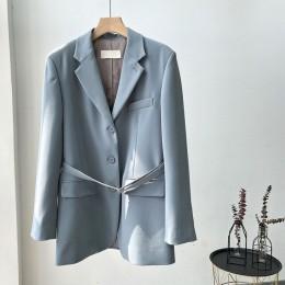 Kurtka kobiet 2020 vintage boutique wąski pasek szary-zielona kurtka