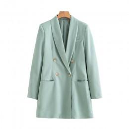 Vintage stylowe podwójne piersi długie blezery płaszcz kobiety 2020 moda z długim rękawem urząd Lady odzież wierzchnia Casual Ch
