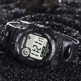 SYNOKE wielofunkcyjny 30M wodoodporny zegarek LED cyfrowe podwójne działanie zegarek elektroniczny zegarek moda gif męski zegare