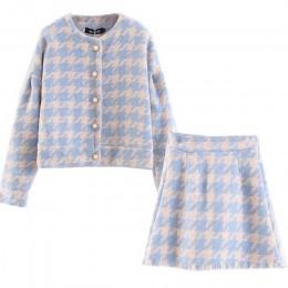 Vintage słodki damski guzik perłowy sprawdź bawełniany materiał w kratkę Plaid Blazer wysokiej talii linia Mini krótkie spódnicz