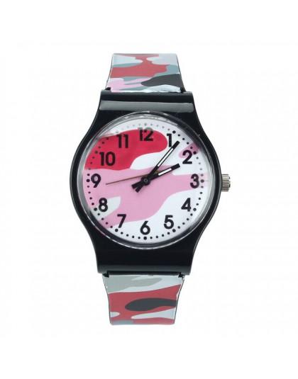 Nowe mody dzieci zegarki styl kamuflażu chłopiec dziewczyny LED analogowy zegarek kwarcowy gumowy Sport zegarek wojskowy Relogio