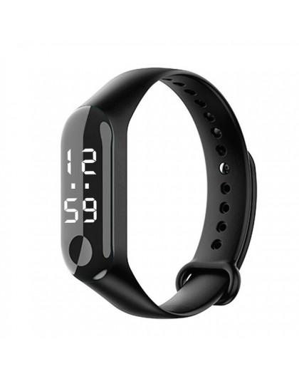 Dzieci LED cyfrowy zegarek luksusowe białe światło dotykowy ekran zegarek z paskiem silikonowym kobiety sport joga bransoletki z