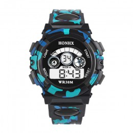 Odkryty wielofunkcyjne Chidren cyfrowe zegarki chłopcy dziewczęta dziecko gumowe sportowe elektroniczny zegarek na rękę dzieci L