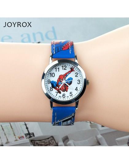 JOYROX Spiderman wzór dzieci zegarki Cartoon skórzany pasek dzieci oglądaj studenci zegarek kwarcowy chłopcy zegar Dropshipping