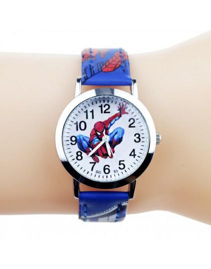 JOYROX księżniczka Elsa wzór zegarek dziewczęcy Cartoon Spiderman chłopcy zegarki skórzany pasek na rękę zegar dla dzieci reloj