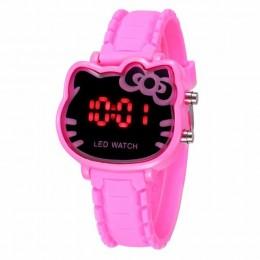 Hot Hello Kitty LED dzieci zegarki gumowy pasek dziecięcy zegarek moda dziewczyny dzieci cyfrowy zegarek zegar reloj mujer