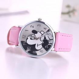 O. T. Sea marka 2018 śliczne mozaika kreskówkowa zegarek dla dzieci skórzane damskie zegarki Mickey kobiety zegarki kid boy girl