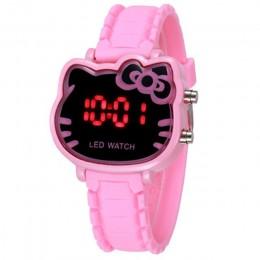 Bajkowy zegarek dla dzieci śliczne Hello Kitty kształt dzieci LED cyfrowe różowe zegarki elektroniczne moda silikonowy zegarek s