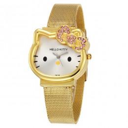Kot kwarcowy zegarek hello kitty kobiety luksusowe moda Lady dziewczyna 2018 nowe srebrne siatki pasek stalowy śliczny zegarek k
