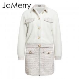 JaMerry Vintage dwuczęściowy tweed faux fur zestawy dla kobiet jesienno-zimowa spódnica garnitur zestawy Patchwork pojedyncze pi