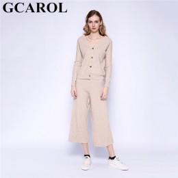 GCAROL nowe damskie zestawy V Neck sweter i spodnie szerokie nogawki 2 szt. Zestaw dzianinowy top spodnie z elastyczną gumką w p