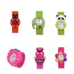1 sztuk zwierząt/roślin kształt dzieci zegarki dzieci Wrist zegarek kwarcowy pasek silikonowy Cute Cartoon Style moda prezent ur
