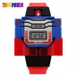 SKMEI zegarki dla dzieci LED cyfrowe dzieci Cartoon sport zegarki Robot transformacja zabawki chłopcy zegarki na rękę montre enf