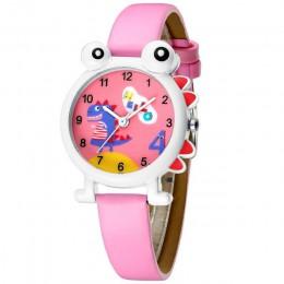 KDM piękny Cartoon dinozaur zegarek dla dzieci śliczne dzieci chłopcy zegarki wodoodporne prawdziwej skóry Kid zegarek zegar dla