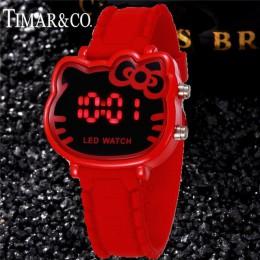 2019 Enfant Ceasuir śliczne różowe Led silikon pasmo zegarek cyfrowy dla dziewczyny kobiet dziecko zegary dziecko chłopak na co