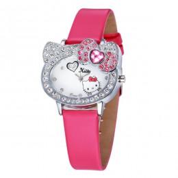 Nowy różowy skórzany śliczny zegarek dziecięcy dla dziewczynek dzieci Student Infantil skórzany zegarek z paskiem Relogio bajkow