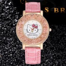 Hello Kitty Kids Watch uroczy wzór różowe cyrkonie zegarek dla dzieci z postaciami z kreskówek wysokiej jakości skórzany pasek k