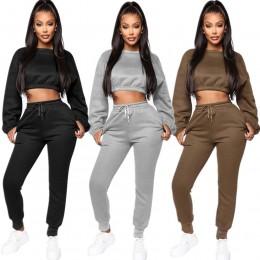 Echoine zimowe grube polarowe bluzy topy i spodnie dwuczęściowy zestaw damski dres krótki Top spodnie odzież sportowa w stylu Ca