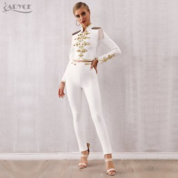Adyce 2020 nowa zimowa damska koszulka bandaż zestaw czarne białe bluzki z frędzlami i spodnie 2 dwie sztuki zestaw wyjściowa Ce
