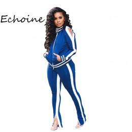 Plus rozmiar Casual damski dres dwuczęściowy zestaw kardigan Jogging Femme boczne białe kurtki + zamek do spodni Sportwear jesie
