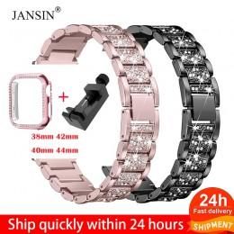 Pierścionek z diamencikami + etui na apple watch 40mm 44mm 38mm 42mm iWatch serii 5 4 3 2 1 bransoletka apple watch ze stali nie