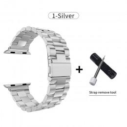 Ze stali nierdzewnej do zegarka Apple Watch zespół 42mm 38mm serii 5 4 3 2 1 wymiana dla pasek iWatch pas metalowy pasek do zega
