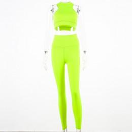Hugcitar camis legginsy elastyczne bez rękawów dwa 2 sztuk różowy neon zestaw 2019 lato kobiety moda rozciągliwy zestaw na co dz