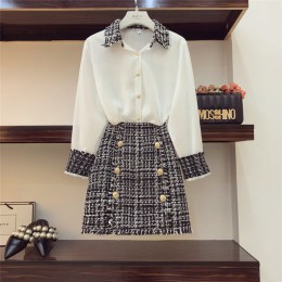 Wysokiej jakości eleganckie kobiety 2 sztuka zestaw kobiety Tweed frędzle szyfonowa koszula Top + podwójne piersi wełniany ołówk