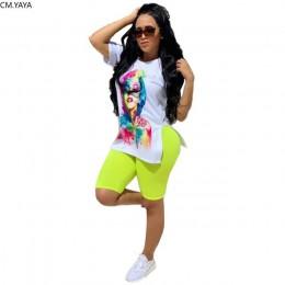 Jesień zestaw damski nadruk liter rozcięcia po bokach t-shirt ołówek spodnie do kolan garnitur dwuczęściowy zestaw moda strój dr