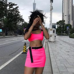 Hugcitar klamra zespół camis skryt 2 dwuczęściowy zestaw 2019 lato kobiety modny pasek patchwork neon zielony streetwear zestawy