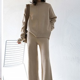 Genayoosa dwuczęściowy zestaw sweter sweter dres kobiety wysoka talia dzianiny szerokie spodnie nogi kobiety garnitur 2 sztuka z