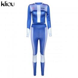 Kliou wysoki elastyczny nadruk nowe bezszwowe dres fitness dwuczęściowy zestaw kobieta z długim rękawem top legginsy gimnastyczn