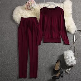 ALPHALMODA 2019 jesień nowy nabytek damska jakości dresy sweter z długimi rękawami spodnie 2 sztuk zestaw solidna moda garnitur
