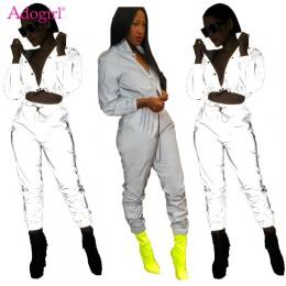 Adogirl Women Sexy odblaskowy dres wersja nocna przyciski skręcić w dół kołnierz z długim rękawem krótki top + spodnie dorywczo