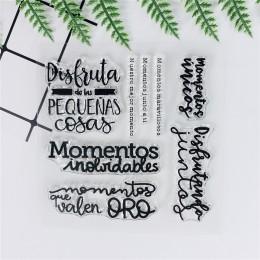10*10 hiszpańskich słów Transparent wyczyść znaczki Bullet Journal uszczelka silikonowa dla DIY Scrapbooking Stamp Album fotogra