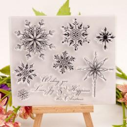 Przezroczyste znaczki płatek śniegu boże narodzenie wyczyść znaczek z gumy silikonowej Scrapbooking do tworzenia kart Album Craf