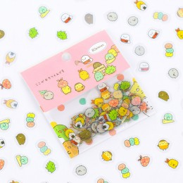 80 sztuk/worek japoński papiernicze naklejki słodki kociak rolka do czyszczenia ubrań Kawaii pcv pamiętnik niedźwiedź naklejki d