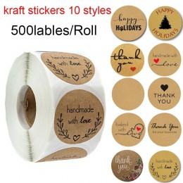500 etykiet na rolce okrągłe naturalne Kraft naklejki z napisem thank you uszczelnienie labes ręcznie wykonane z miłość naklejka