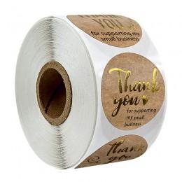 500 szt. Dziękuję za wsparcie mojej firmy Kraft naklejki ze złotą folią okrągłe etykiety naklejki na mały sklep naklejka wykonan