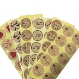 100 sztuk/partia okrągły Vintage Kraft etykiety naklejki dziękuję DIY wielofunkcyjne opakowania samoprzylepne uszczelnienie etyk