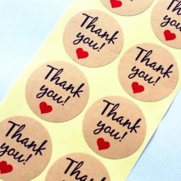 """100 sztuk/partia Vintage """"dziękuję"""" serce okrągłe pieczęć na papierze pakowym naklejki na ręcznie robione produkty do pieczenia"""
