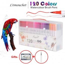 120 kolorów podwójny Marker z dwiema końcówkami i pędzelkiem długopisy Fineliner akwarela markery kaligrafia kolorowanie materia