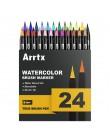 Arrtx 24/48 kolorów True mazak długopisy profesjonalne markery na bazie wody zmywalne i nietoksyczne elastyczne końcówki szczote