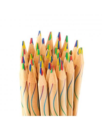 10 sztuk/partia DIY śliczne Kawaii drewniane kolorowe ołówek drewna tęczy kolor ołówek dla Kid szkoła Graffiti rysunek malarstwo