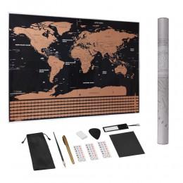 Duży rozmiar Scratch Off World mapa turystyczna Premium spersonalizowany plakat naklejka ścienna wszystkie flagi państwowe opako