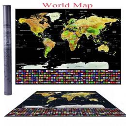 Scratch off Journal mapa świata spersonalizowany plakat Atlas podróży z flagi państwowe 42*30CM