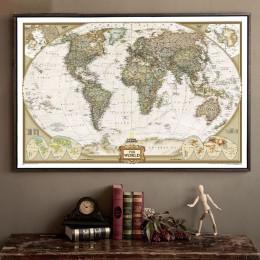 Duża mapa świata w stylu Vintage materiały biurowe szczegółowy antyczny plakat ścienna tablica papier retro matowy papier pakowy