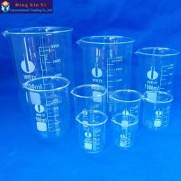 Pojemność 50 ml-3000 ml niska forma zlewka laboratoryjne szkło borokrzemiankowe do laboratorium przezroczysta zlewka z zagęszczo